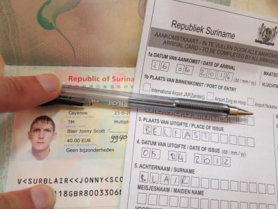 My Suriname Visa and immigration form.