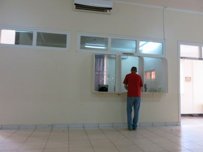 At the immigration desk in Albina, Suriname.