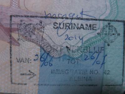 albina entry stamp suriname