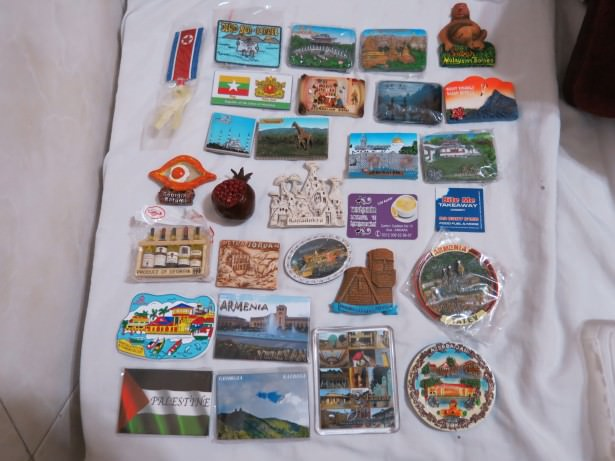 Some of my Mum's many fridge magnets from around the world.
