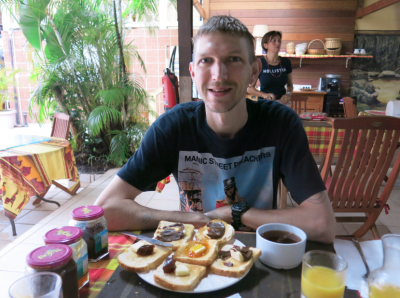 Friday's Featured Food - loving my jam on toast in Oyasamaid, Cayenne, French Guyana.