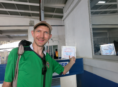 Checking into the flight at Ogle International Airport, Georgetown, Guyana.