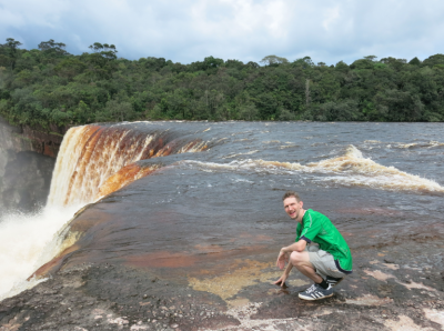 At the top of Kaieteur Falls touching the water