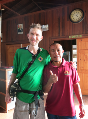 With Max our guide in the hut at Kaieteur National Park.
