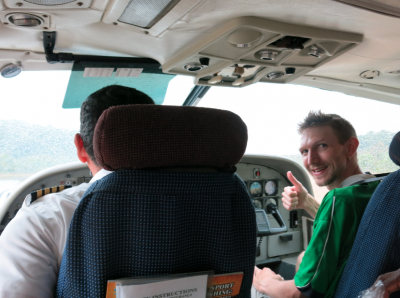 Sitting beside the pilot on the way back from Kaieteur Falls.