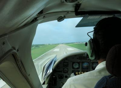 Landing in Georgetown, Guyana.