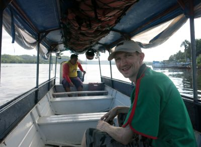 Enjoying the boat from Oiapoque to St Georges de Loyapock in French Guyana.