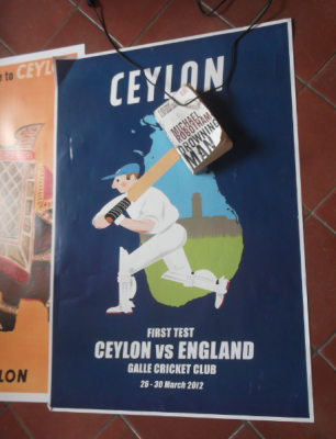 Backpacking in Galle, Sri Lanka - an old cricket poster of Ceylon v. England.