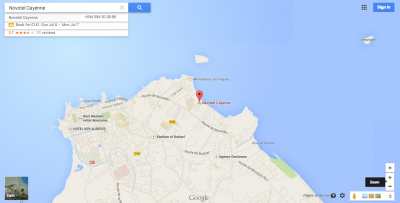 The location of the Novotel in Cayenne, French Guyana.