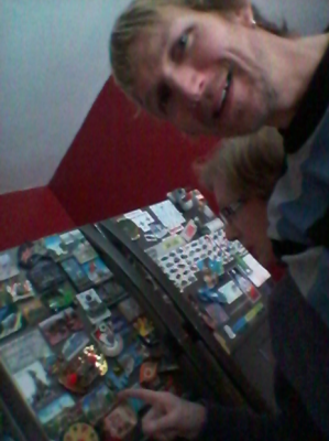 Selfie with my Mum and her fridge magnets.