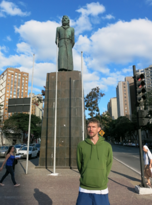 By the Tiradentes statue in Belo Horizonte, Brazil.