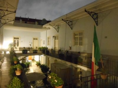 Night time in the Courtyard at Casa San Ildefonso.