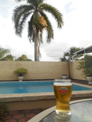 Beers out the back by the pool.