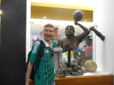 Maradona was here - Hand of God statue in the Estadio Azteca!