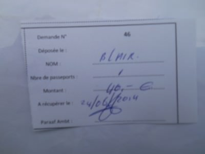 Receipt for my visa application payment.