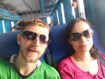 On the bus to Monte Alban.