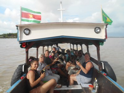 Cheers! Enjoying Surinamese Rum on the boat back to Paramaribo on the Sugar Trail.