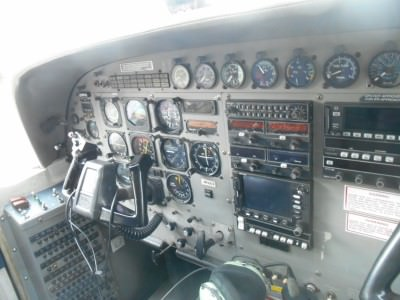 My view in the cockpit next to the pilot.