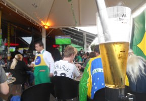 "View from a beer watching ""The 7-1 match"" in Foz do Iguacu, Brazil."