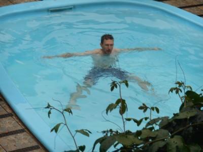 Having a dip in the pool.