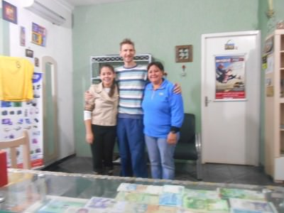 With the staff in the Hostel Green House in Foz do Iguacu, Brazil.