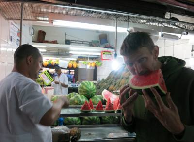 Eating watermelon in Mercado Central in Belo Horizonte Brazil