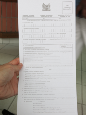 Filling in the application form.