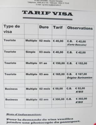 visa cost suriname