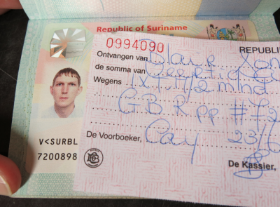 My receipt and my visa! How to get a Suriname Visa in Cayenne French Guyana!