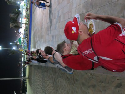 Food with the lads down by the seafront in Fortaleza.