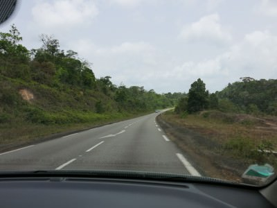 Driving through the French Guyanese countryside to Sinnamary.