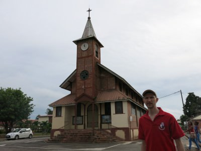 Checking out the Church in St. Laurent du Maroni.