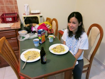 Eating our home cooked meals in Fajalobi.