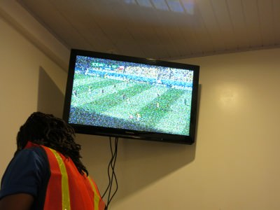 Screen in the airport in Guyana for Brazil v. Chile.