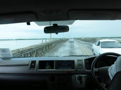 Crossing Demerara Harbour Bridge in Georgetown, Guyana.