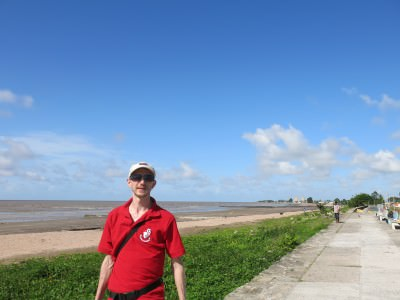 Standing at the start of the Seawall in Georgetown