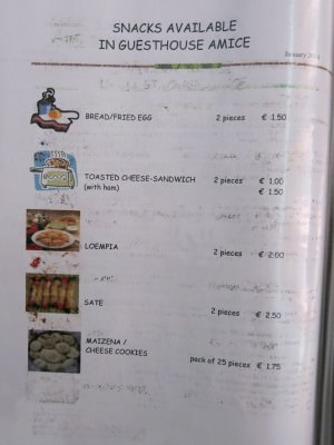 Food menu at Guesthouse Amice.