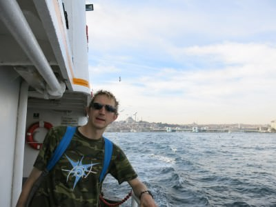Crossing from Europe to Asia in Istanbul, Turkey.