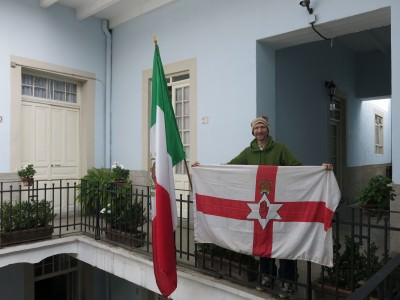 Mexico and Northern Ireland flags in Casa San Ildefonso, Mexico City.