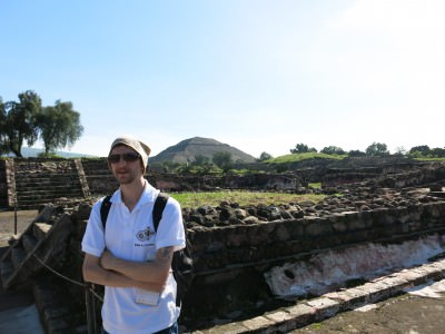 On a tour at Teotihuacan, Mexico.