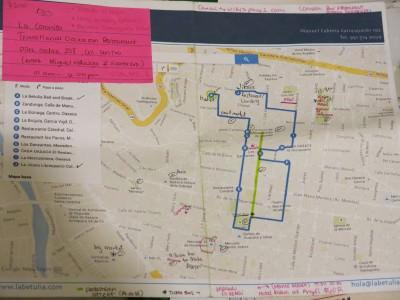 La Betulia's custom map and guide to the area.