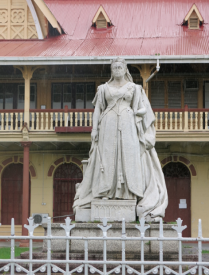 The broken Queen Victoria Statue Georgetown Guyana