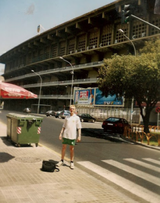 Early backpacking days in Valencia, Spain outside the Mestalla stadium where Northern Ireland beat Spain 1-0 in 1982.