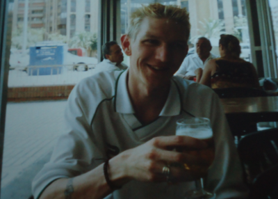 Drinking in Valencia in 2003 - old school camera!