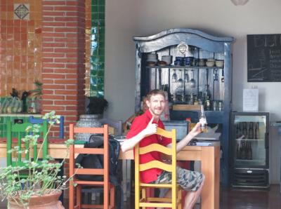 Enjoying the Wifi in the dining area at La Betulia.