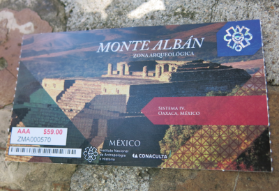 Ticket for Monte Alban is 59 Mexican Pesos.