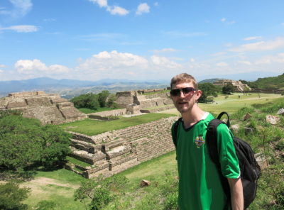 View down into Monte Alban from Platforma Sur.