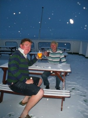 Backpacking Buddies - Russell and Jonny having a Beer on Deck in freezing Antarctica!
