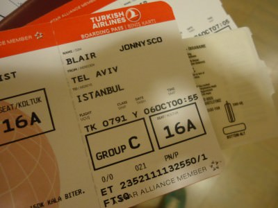 Israel to Turkey flight