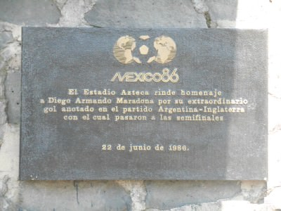 Plaque about the famous Maradona match where he punched one in and then scored the goal of the century in a 2-1 Quarter Final win v. England in 1986.